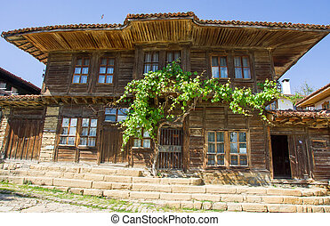 Bulgarian rural house and grapes
