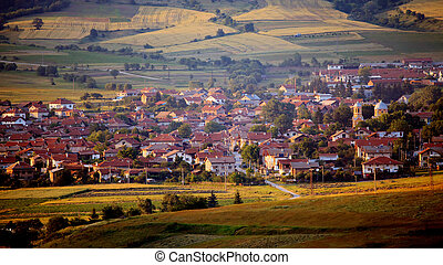 bulgarian small village at golden hour