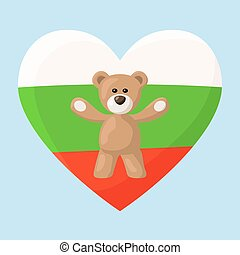 Bulgarian Teddy Bears - Teddy Bears with heart with flag of ...