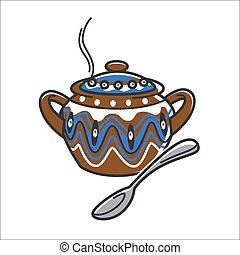 Bulgarian traditional clay ceramic soup bowl or pot vector isolated icon
