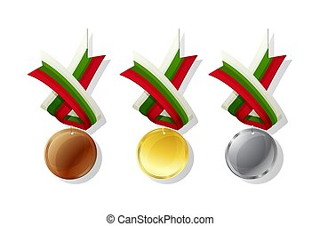 Bulgarian vector medals set - Bulgarian medals in gold,...