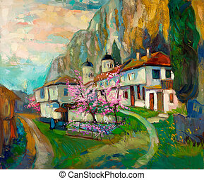 Original oil painting of old traditional Bulgarian houses and church in the mountain on canvas. Modern Impressionism