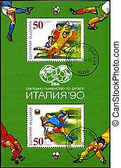 bulgarien, gewidmet, bulgarien, wort, 1990, spieler, becher, briefmarke, fußball, -, 1990:, italia, gedruckt, reihe, 1990., pfahl, zirka, shows