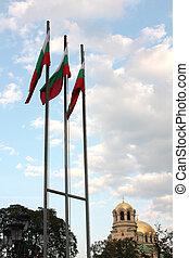 bulgarisch, flaggen, &, str., alexander, nevsky, sofia
