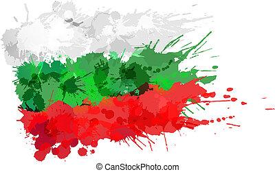 bulgaro, fatto, bandiera, colorito, schizzi