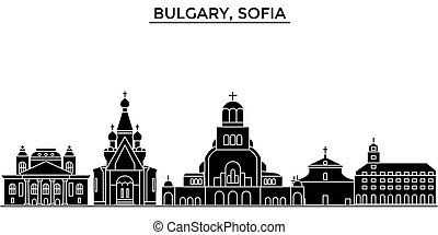 Bulgary, Sofia architecture vector city skyline, travel cityscape with landmarks, buildings, isolated sights on background