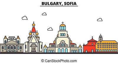 Bulgary, Sofia. City skyline architecture, buildings, streets, silhouette, landscape, panorama, landmarks. Editable strokes. Flat design line vector illustration concept. Isolated icons set