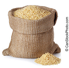 Bulghur or couscous in bag isolated on white background