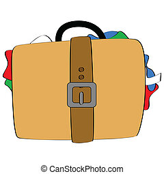 Cartoon illustration of a bulging suitcase, with pieces of clothing showing from the sides