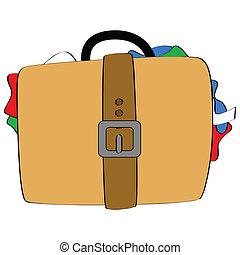 Bulging luggage - Cartoon illustration of a bulging suitcase...