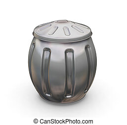 3D render of a bulging trash can