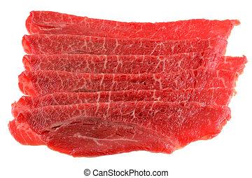 bulgogi, recientemente, slided, carne de vaca