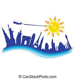 buliding, con, avión, viaje, ilustración