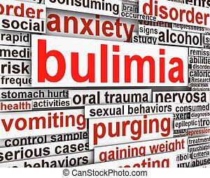 bulimia, nervosa, boodschap, conceptueel, ontwerp