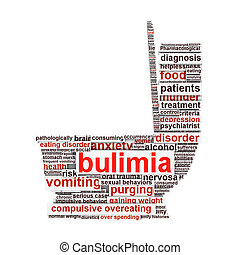 Bulimia symbol isolated on white