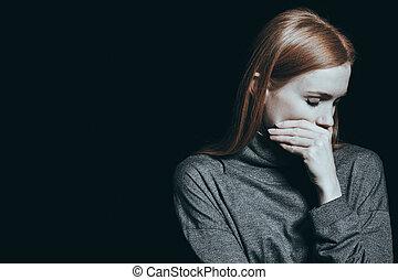 bulimic, nő, száj, neki, fedő