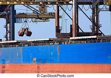 Bulk carrier - A huge crane unloading ore from a bulk...