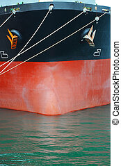 Bulk carrier ship bow iwith mooring rope