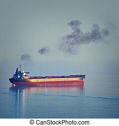 Bulk Carrier Ship - Fuming Bulk Carrier Ship in the Black...