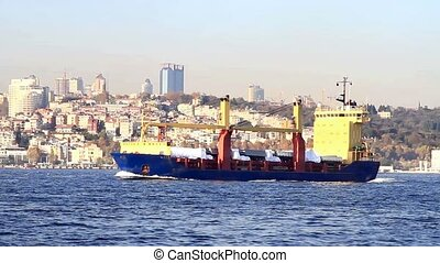 Bulk carrier ship  - Bulk carrier sails in Bosporus sea