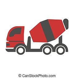 Bulk cement transport unit icon flat art design on white...
