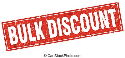 bulk discount red square grunge stamp on white
