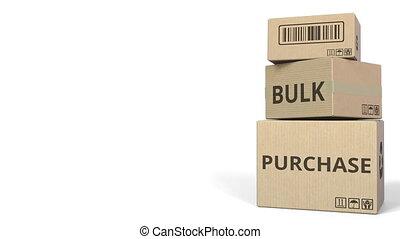 BULK PURCHASE caption on boxes. 3D animation