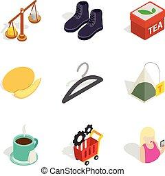 Bulk purchase icons set, isometric style