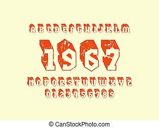 Bulk serif font in military style