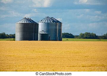 Bulk steel storage silos by crop fields