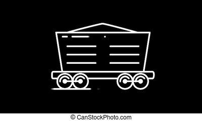 Bulk wagon line icon on the Alpha Channel - Bulk wagon line...