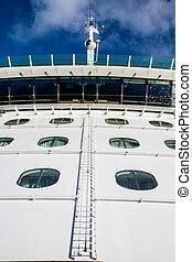 bulkhead, échelle, haut, croisière bateau
