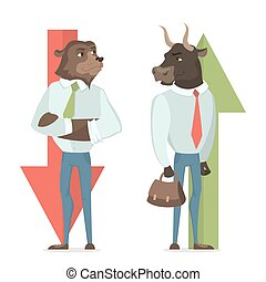 Bull and bear. - Bull and bear concept illustration. Market...