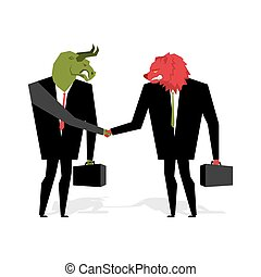 bull and bear Deal. Animals businessmen make trade. Men shake hands. Contract between traders on stock exchange. Handshake Beasts in suit and briefcase