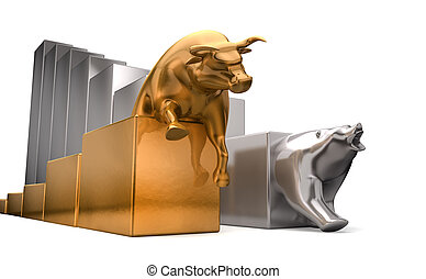 Bull And Bear Economic Trends - A gold bull and a platinum...