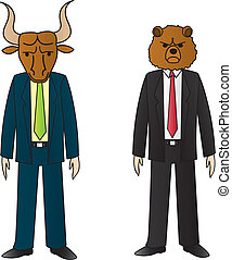 Bull And Bear - Two businessmen. One with a bull head and...
