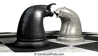 Bull And Bear Market Trend Chess Pieces