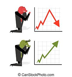 Bull and Bear pray to bet on stock exchange.Green up arrow. Red down arrow. Worship of Bull and Bear pray to bet on stock exchange. Green up arrow. Red down arrow. Worship of money. Prayer quotes. Trader kneeling before graph. Allegory illustration for magazine businessmoney. Prayer quotes. Trader kneeling before graph. Allegory illustration for magazine business
