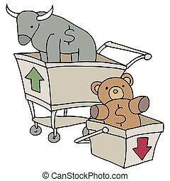 Bull and Bear Shopping Carts