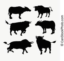 Bull and buffalo animal silhouette