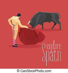 Bull and bullfighter on Spanish arena during bullfighting...