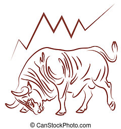 bull and bullish stock market trend