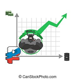 Bull and graph growth of Russian ruble. Quotations increase money in Russia. Infographics for Exchange. Oil and dollars. Trader bulls on stock exchange. Green up arrow. Business graph