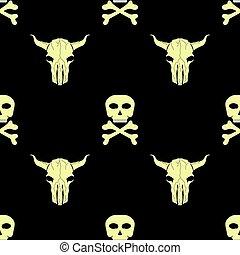 Bull and Man Skull Silhouette Seamless Pattern