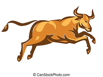 bull-attacking-jumping-side - vector illustration of a texas...