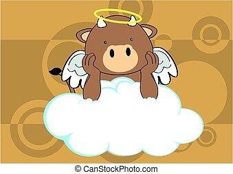 bull baby cute angel cartoon