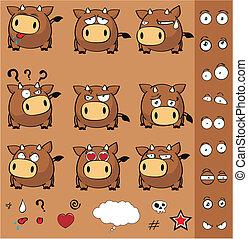 bull ball cartoon set