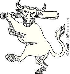 Bull Baseball Bat Mono Line - Mono line illustration of...