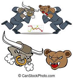 An image of a bull bear stock market battle.