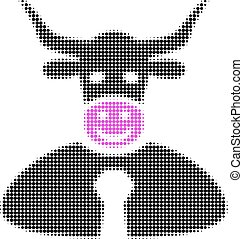 Bull Boss Halftone Dotted Icon